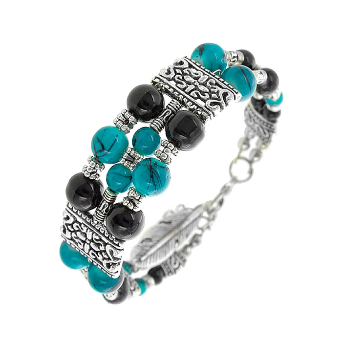 Antiqued Silver Bracelet with Turquoise and Black Beads