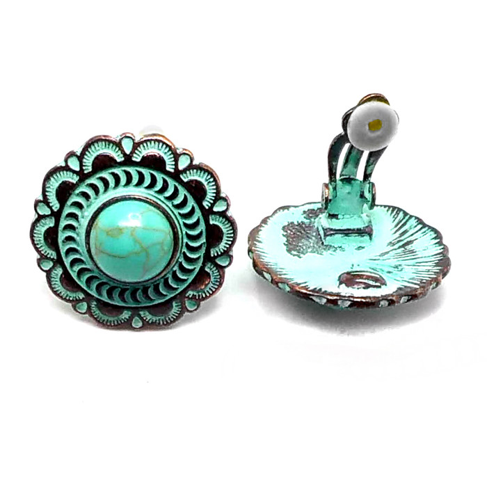 Patina Circle Clip-On Earrings with Turquoise Cabochons