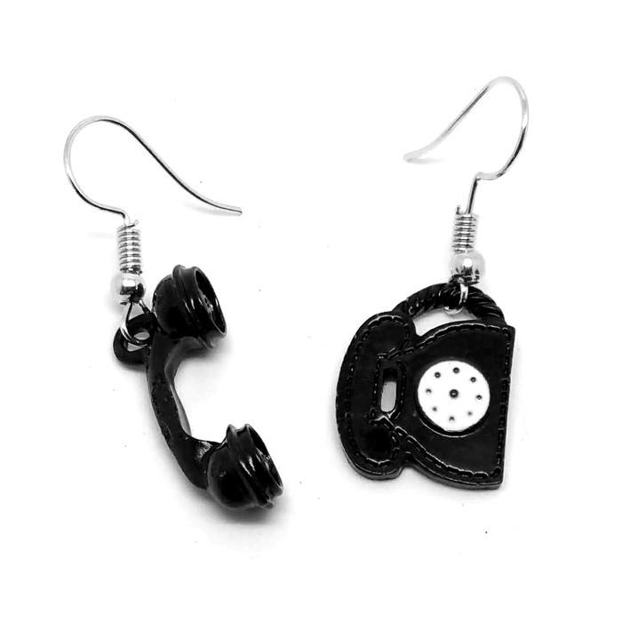 Black Telephone and Receiver Mismatched Drop Earrings