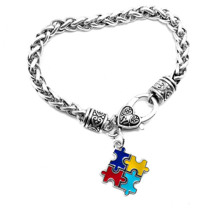 Enameled Autism Awareness/Puzzle Bracelet
