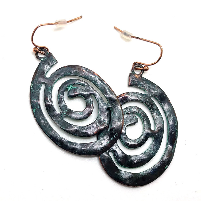 Hammered Patina Spiral Drop Earrings