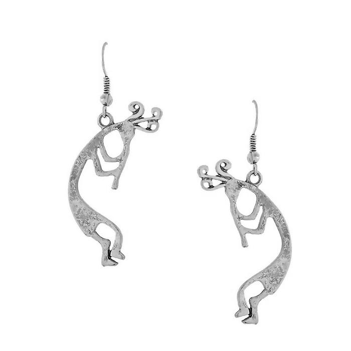 Antiqued Silver Kokopelli Cutout Drop Earrings