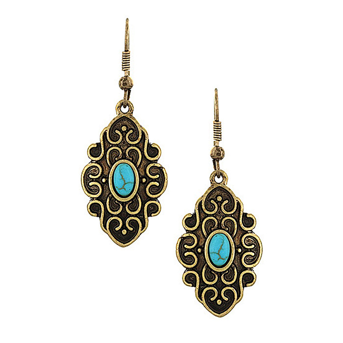 Antiqued Gold Filigree Marquis Drop Earrings with Turquoise Detail