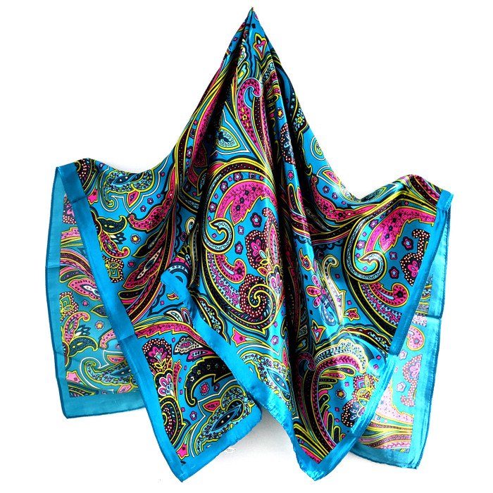 "Flowing Flowers and Paisley Square Silk-/Satin-Feel Scarf (Teal, 36"" x 36)"