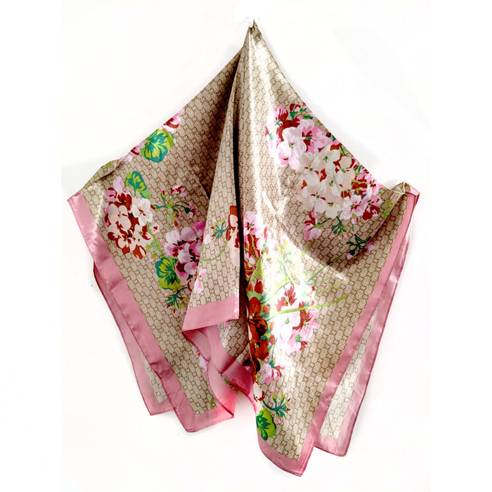 "Floral Square Silk-/Satin-Feel Scarf (Taupe & Rose, 36"" x 36"")"
