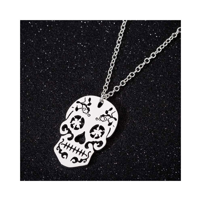 Silver Sugar Skull Cutout Pendant Necklace