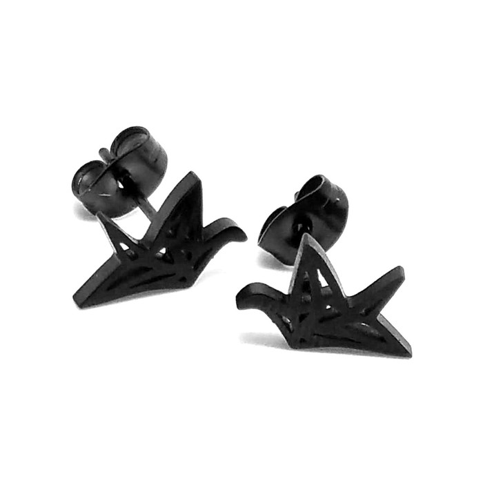 Tiny Black Origami Crane Outline Post Earrings