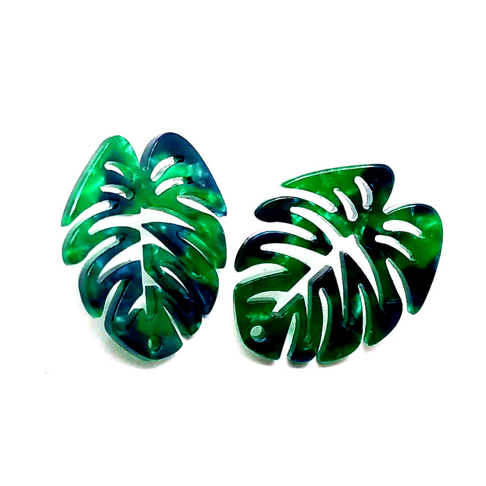 Green Acrylic Monstera Philodendron Post Earrings - Front