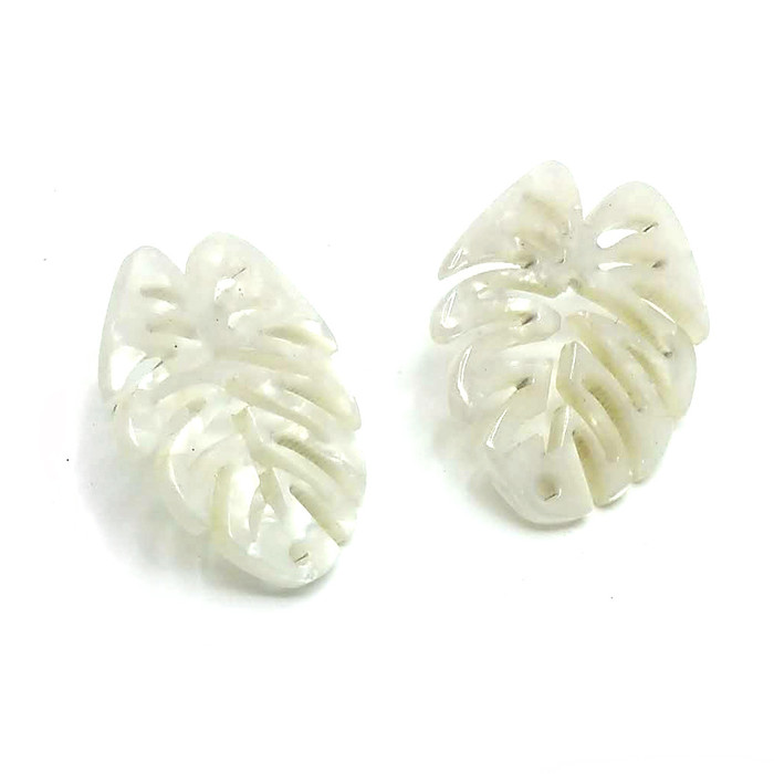 White Acrylic Monstera Philodendron Post Earrings - Front