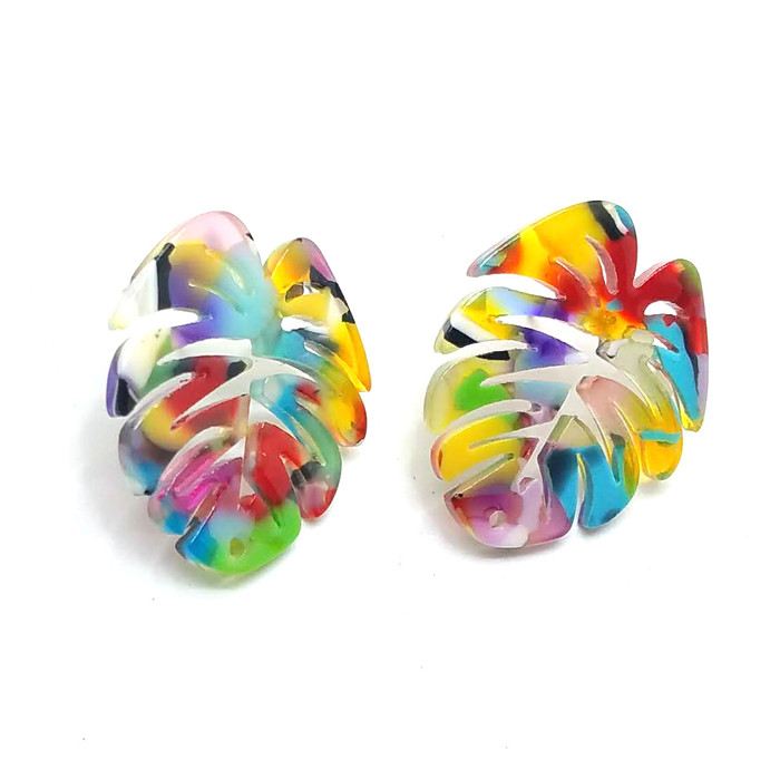 Multicolored Acrylic Monstera Philodendron Post Earrings - Front