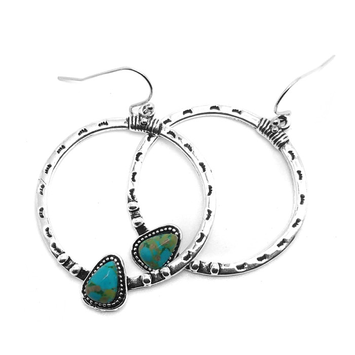 Antiqued Silver Circle Drop Earrings with Turquoise Nuggets