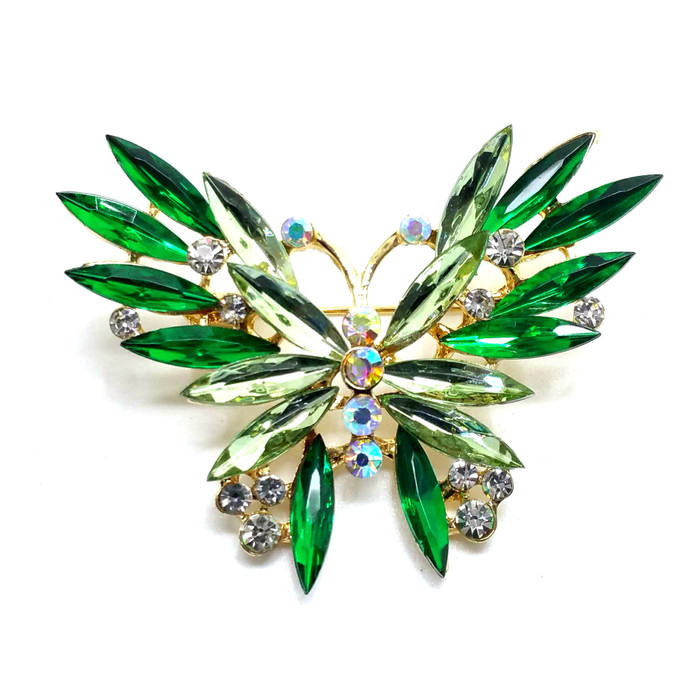 Emerald Green Marquis Crystal Butterfly Pin