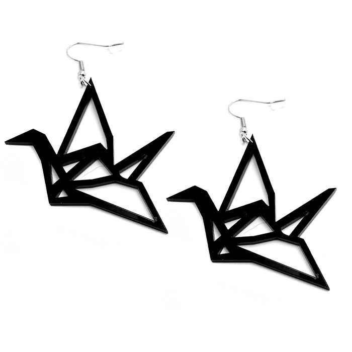 Black Acrylic Origami Crane Outline Drop Earrings