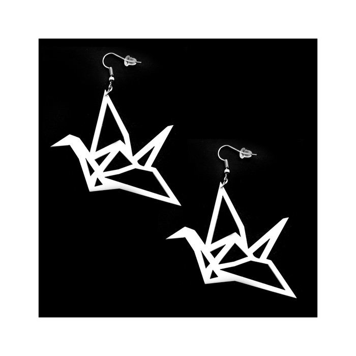 White Acrylic Origami Crane Outline Drop Earrings
