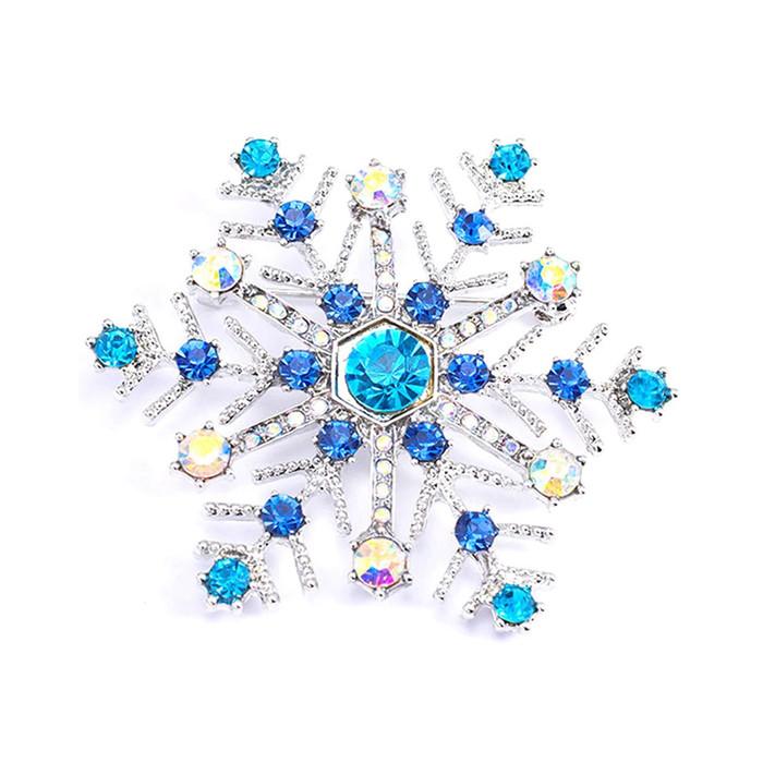 Silver and Blue Crystal Snowflake Pin