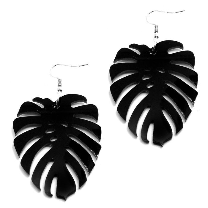 Large Black Acrylic Monstera/Philodendron Leaf Drop Earrings