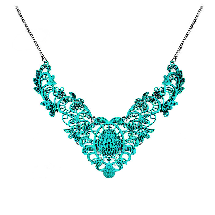Silver & Turquoise Scrolling Filigree Bib Necklace