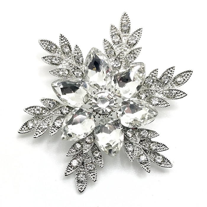 Silver & Clear Crystal Snowflake Pin