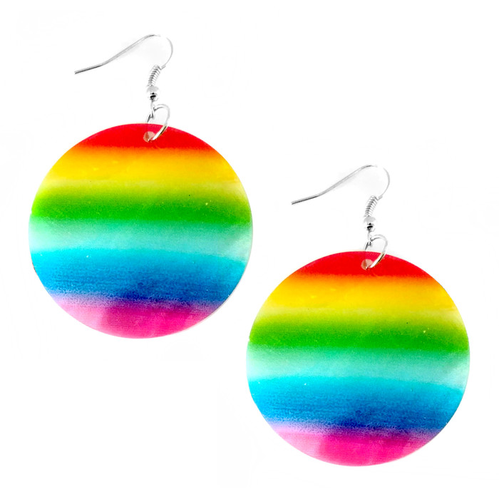 Rainbow Striped Round White Shell Drop Earrings