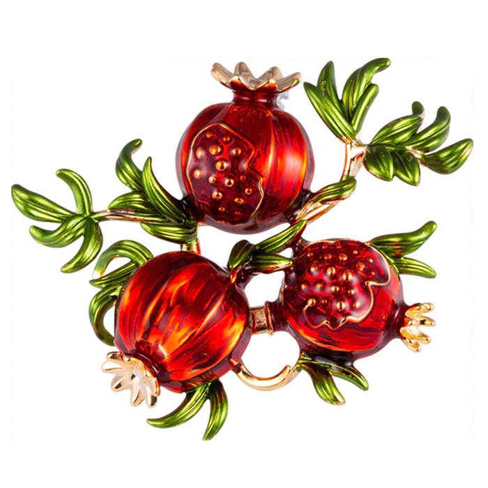 Enameled Pomegranate Branch Pin