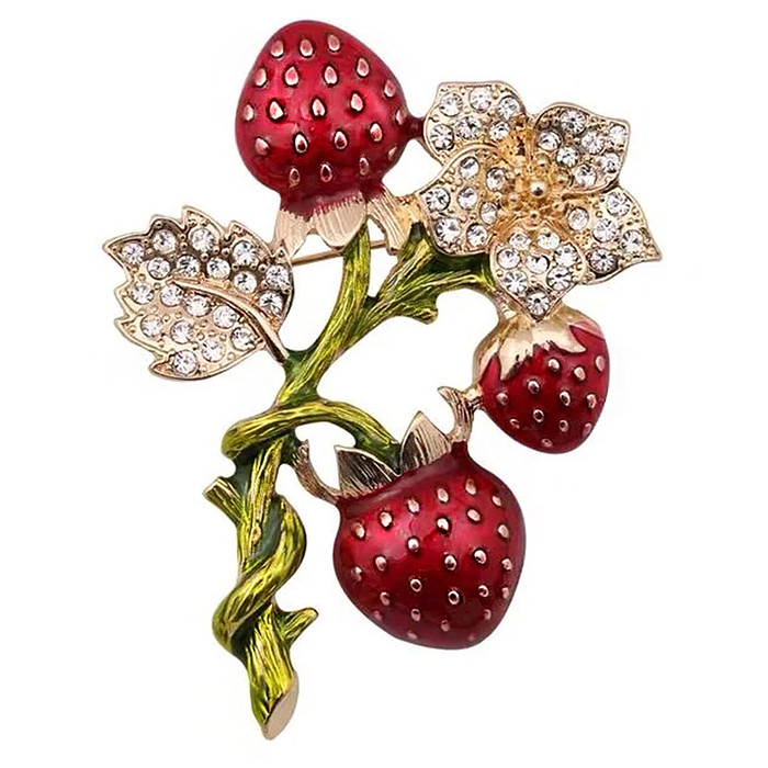 Bejeweled and Enameled Strawberry Trio Pin
