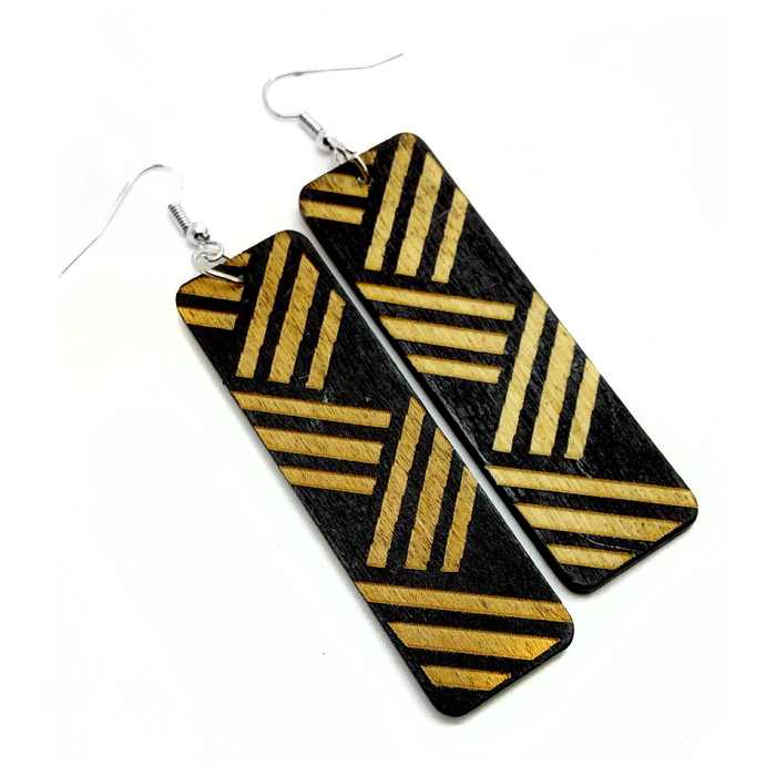 Large Lightweight Ethnic Wooden Rectangle Drop Earrings