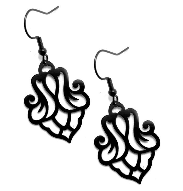 Lightweight Scrolling Black Steel Drop Earrings