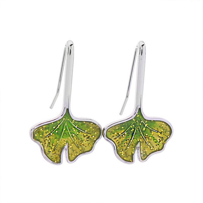 Silver Ginkgo Leaf Drop Earrings with Green Glitter Glaze