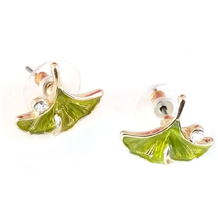 Bejeweled and Enameled Golden Ginkgo Leaf Post Earrings