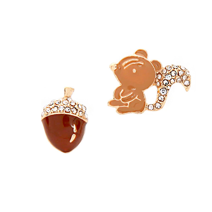 Bejeweled and Enameled Golden Acorn and Squirrel Post Earrings