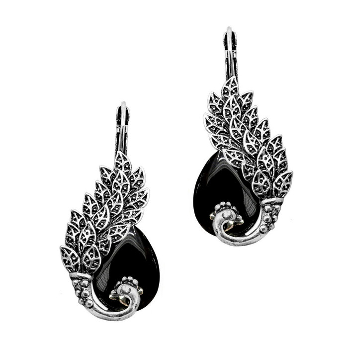 Antiqued Silver and Black Peacock Teardrop Leverback Earrings
