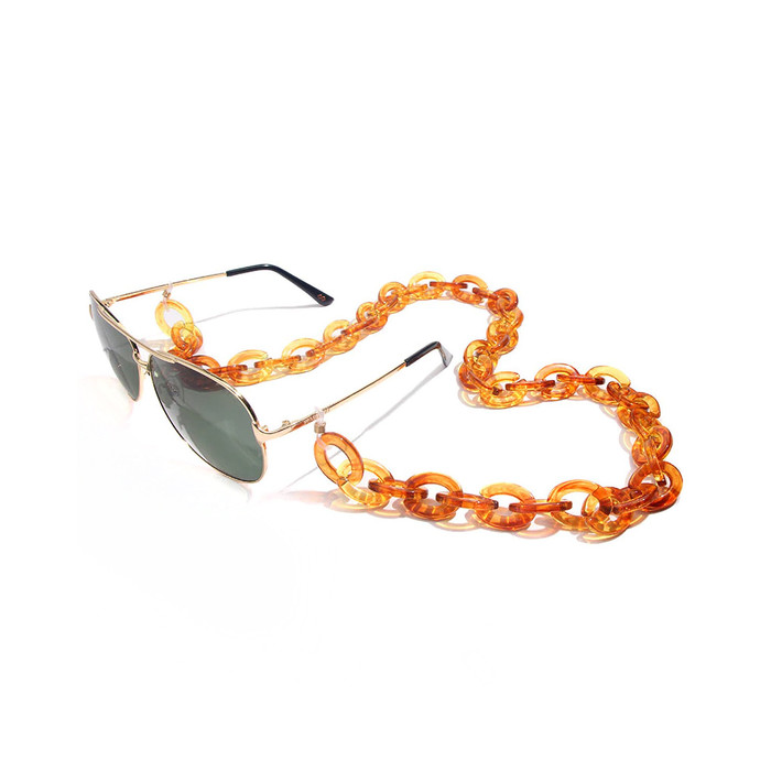 Grannycore Chunky Acrylic Glasses Chain/Holder - Golden Amber