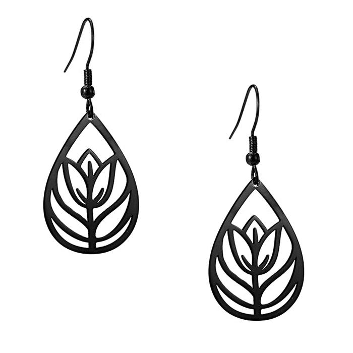 Lightweight Tulip/Floral Teardrop Black Steel Drop Earrings