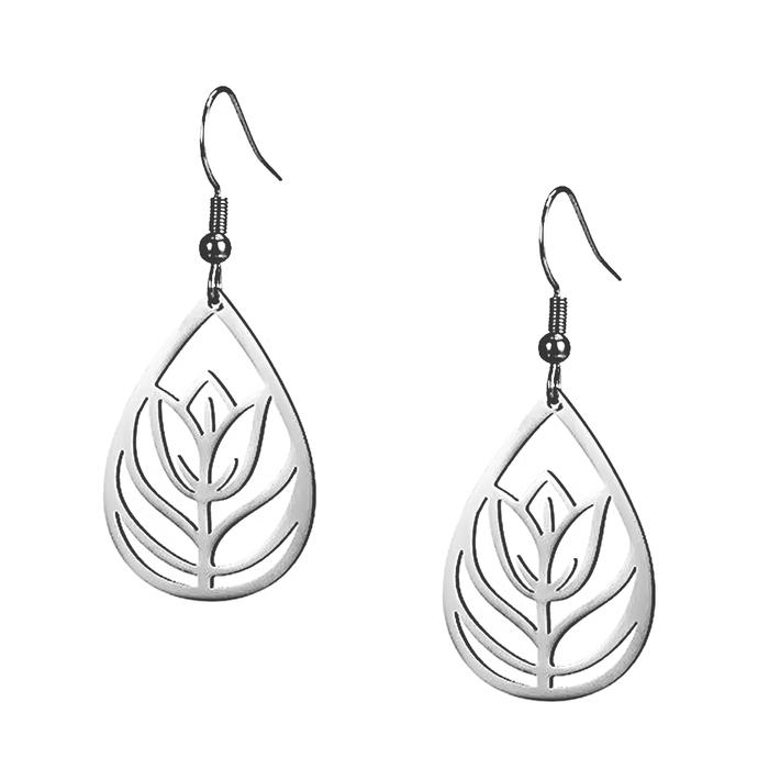 Lightweight Tulip/Floral Teardrop Steel Drop Earrings