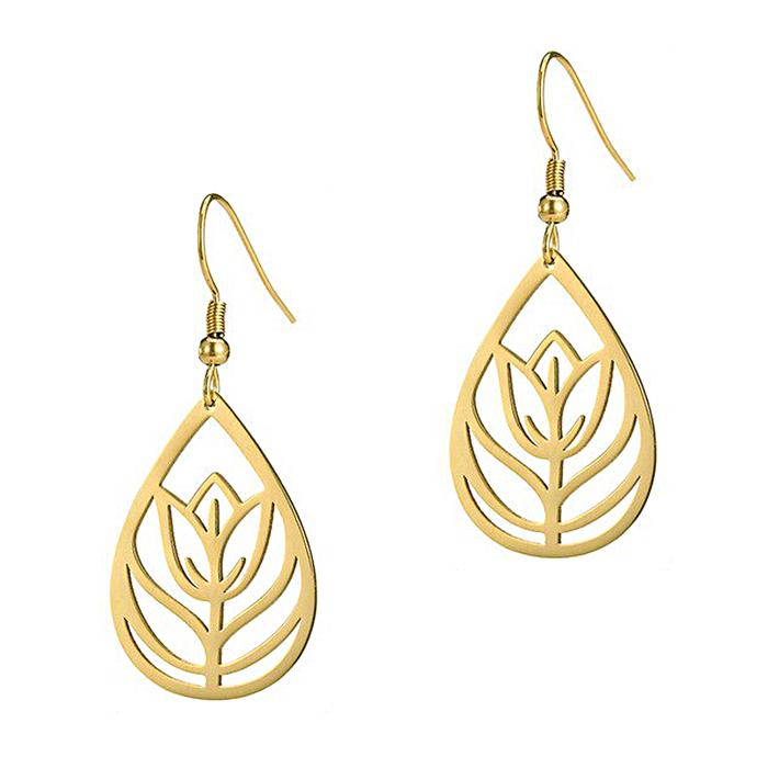 Lightweight Tulip/Floral Teardrop Golden Drop Earrings