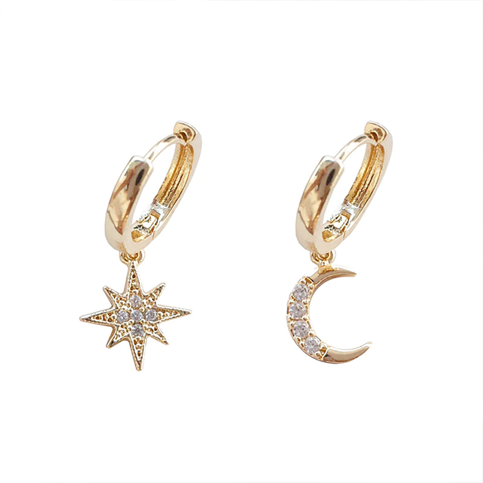Bejeweled Golden Star and Moon Drop Earrings