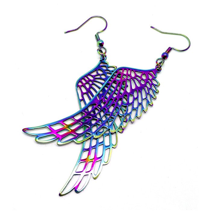Rainbow-Effect Angel/Bird Wing Drop Earrings