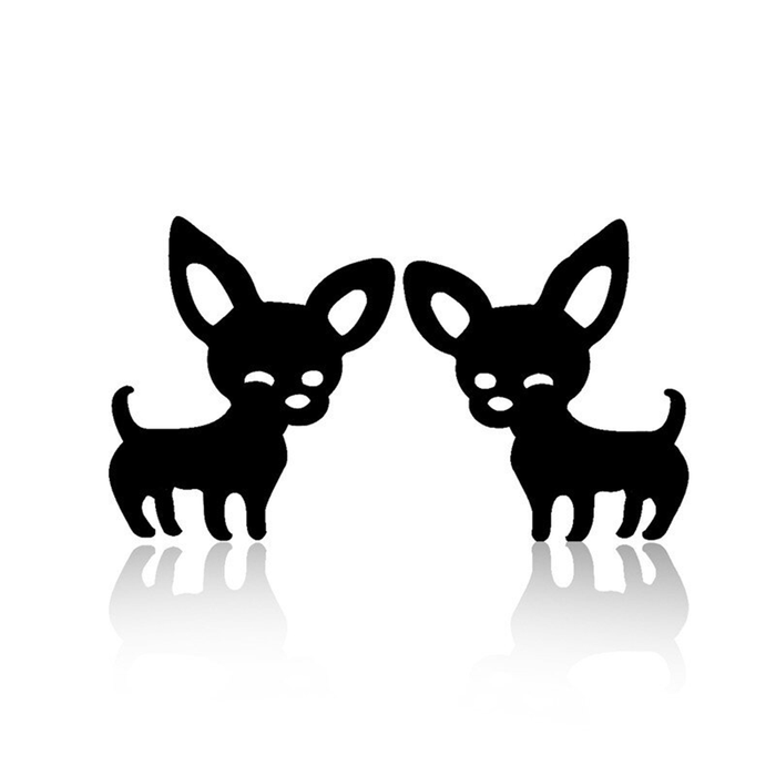 Mini Black Chihuahua Post Earrings