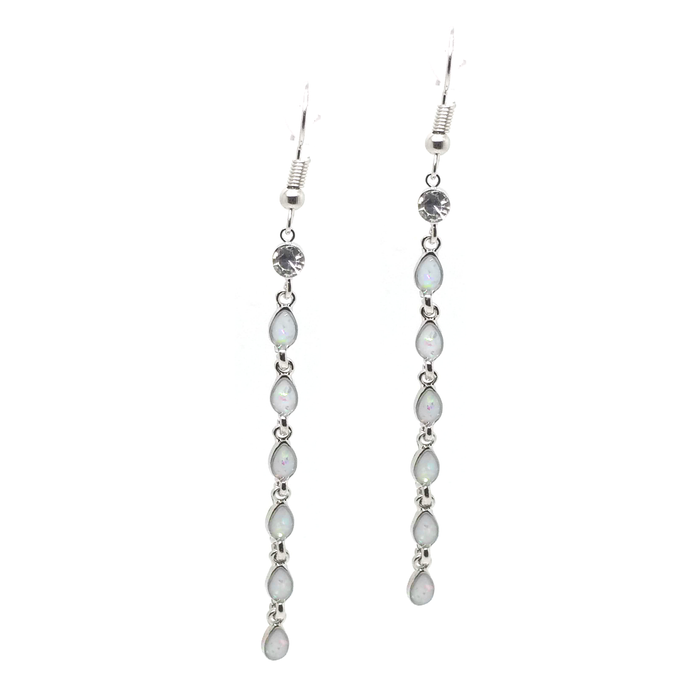 Dangling White Opalite Teadrop Earrings with Crystal Detail