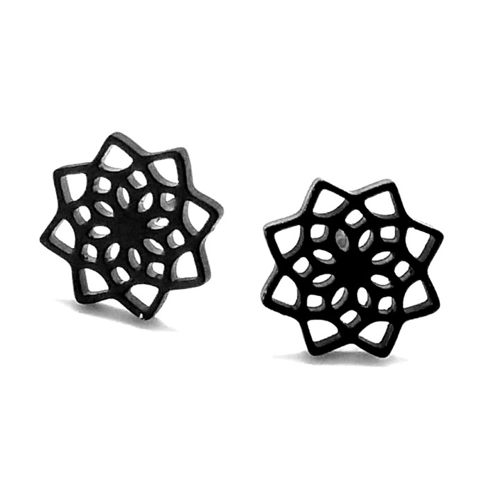 Mini Black Mandala/Flower of Life Circle Post Earrings