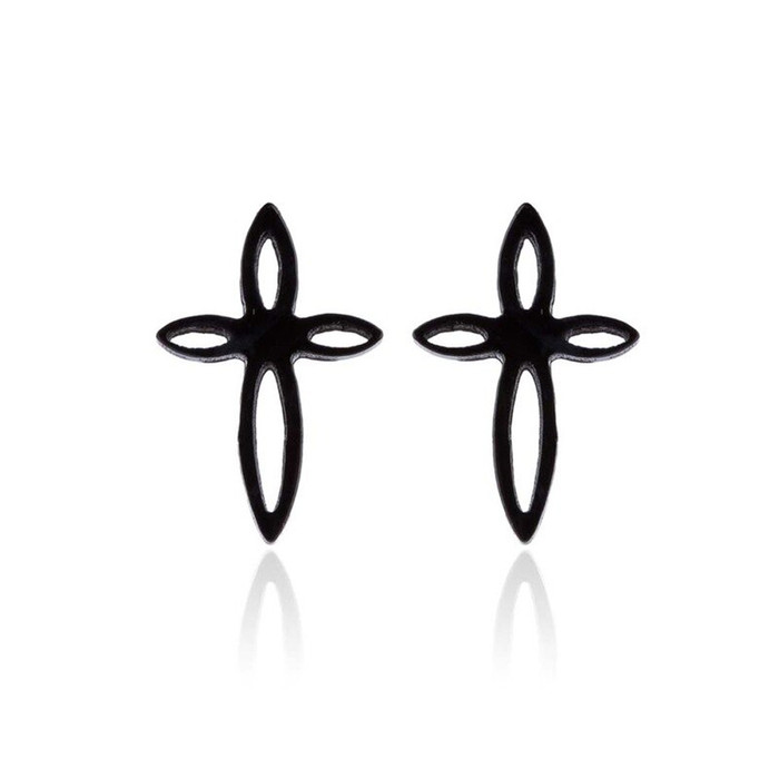 Mini Black Cross Post Earrings