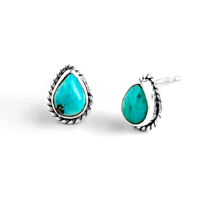 Antiqued Silver and Turquoise Teardrop Post Earrings
