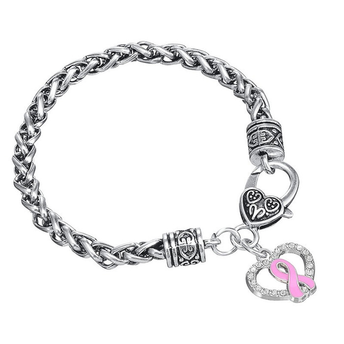 Antiqued Silver Bracelet with Bejeweled and Enameled Pink Ribbon Breast Cancer Awareness Heart Charm