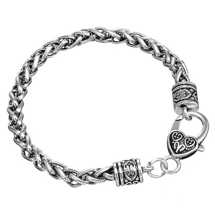 Antiqued Silver Rope Chain Bracelet with Fancy Lobster Clasp