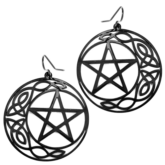 Black Steel Pentacle and Celtic Knot Moon Drop Earrings