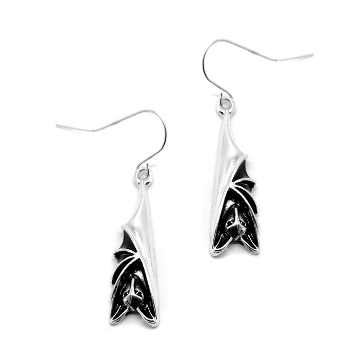 Antiqued Silver Sleeping Bat Drop Earrings