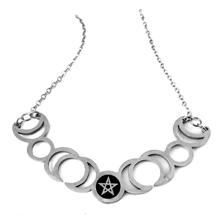 Silver Steel Moon and Pentacle Wiccan/Magick Necklace