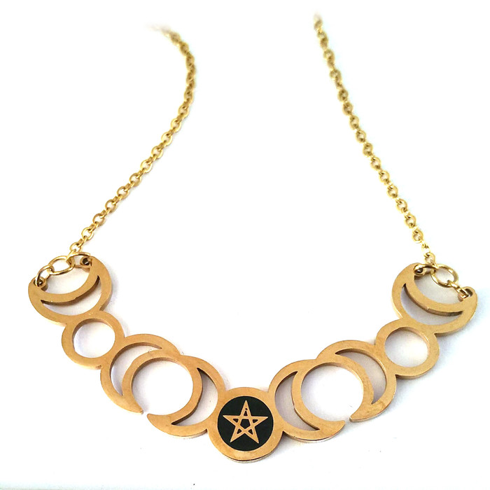 Golden Steel Moon and Pentacle Wiccan/Magick Necklace