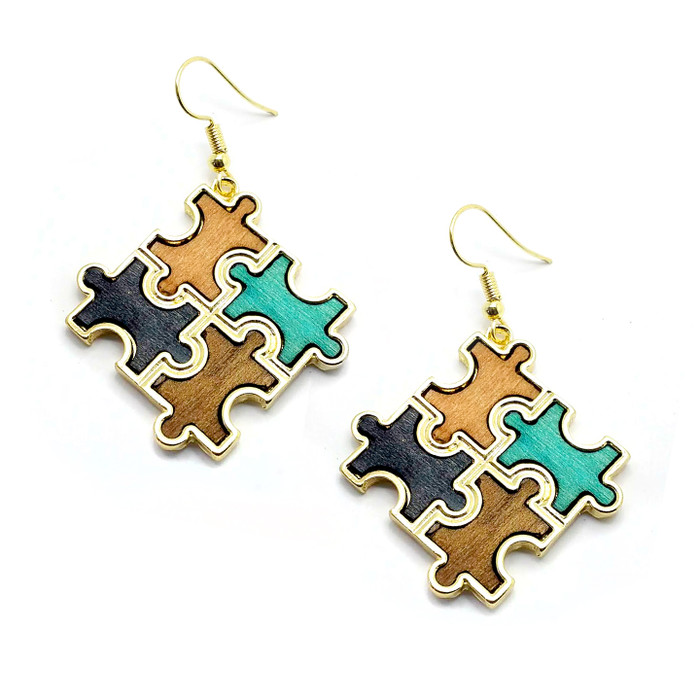 Stained Wood Autism Awareness/Puzzle Golden Drop Earrings