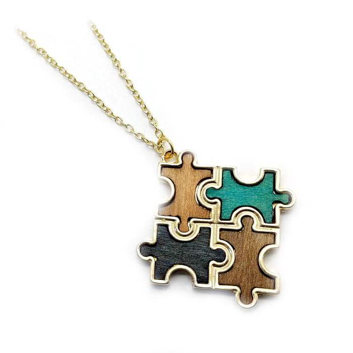 Stained Wood Autism Awareness/Puzzle Golden Pendant Necklace